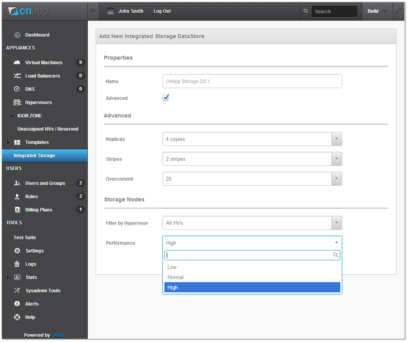 Creating a new datastore with OnApp Storage