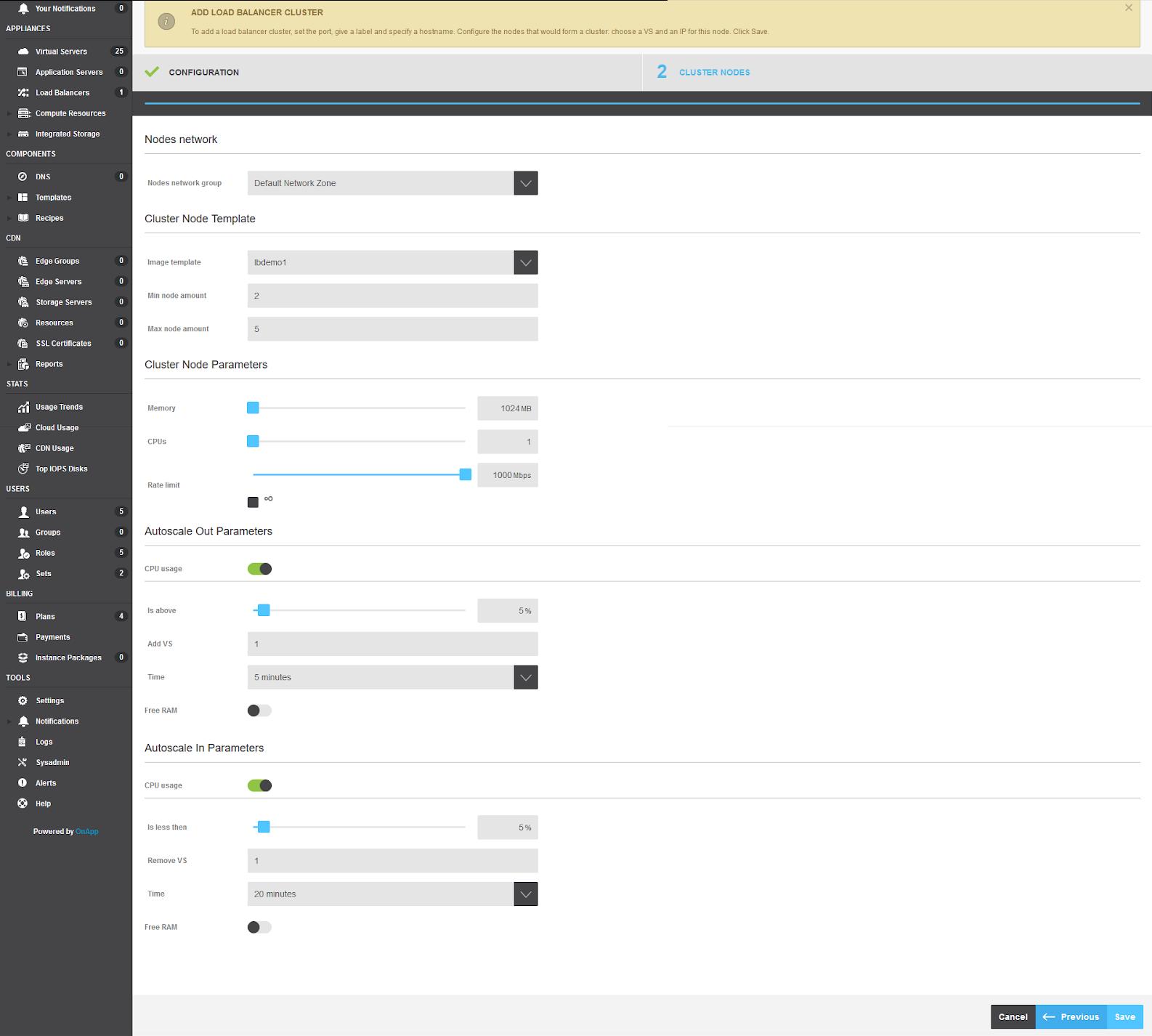 OnApp autoscaling clusters node parameters