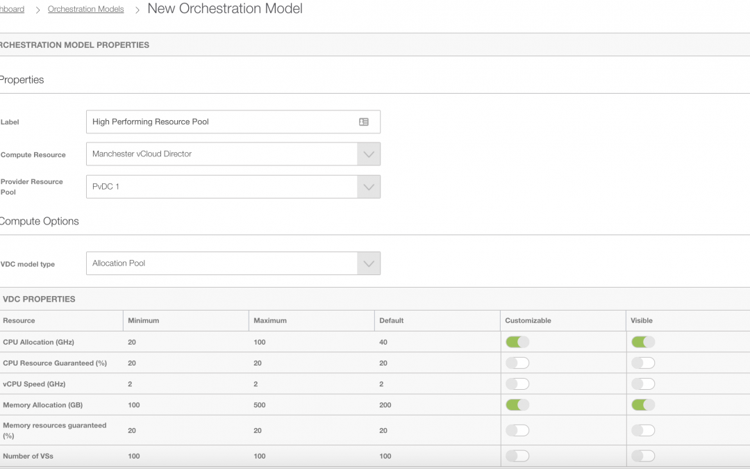 vCloud Director – automating tenant and resource deployment with Orchestration Models