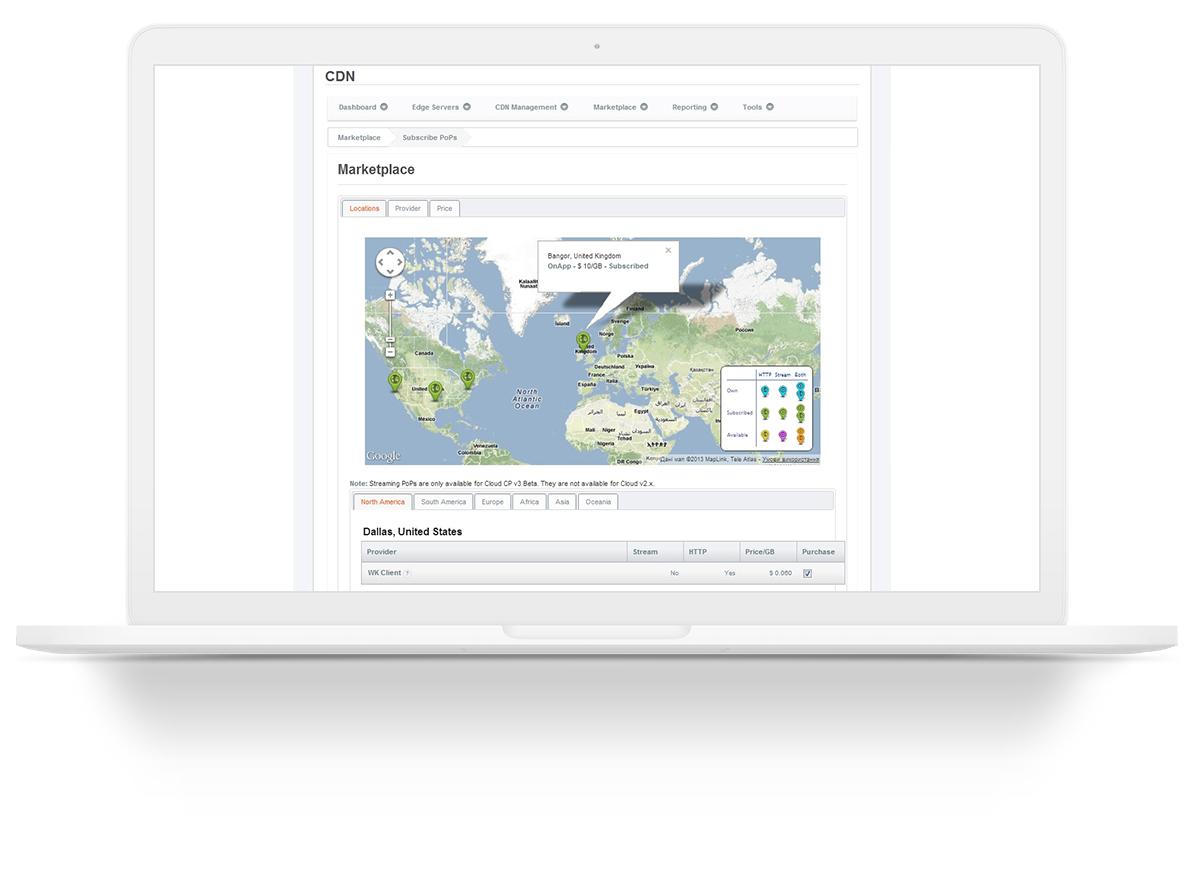 OnApp CDN is a complete framework of CDN software components