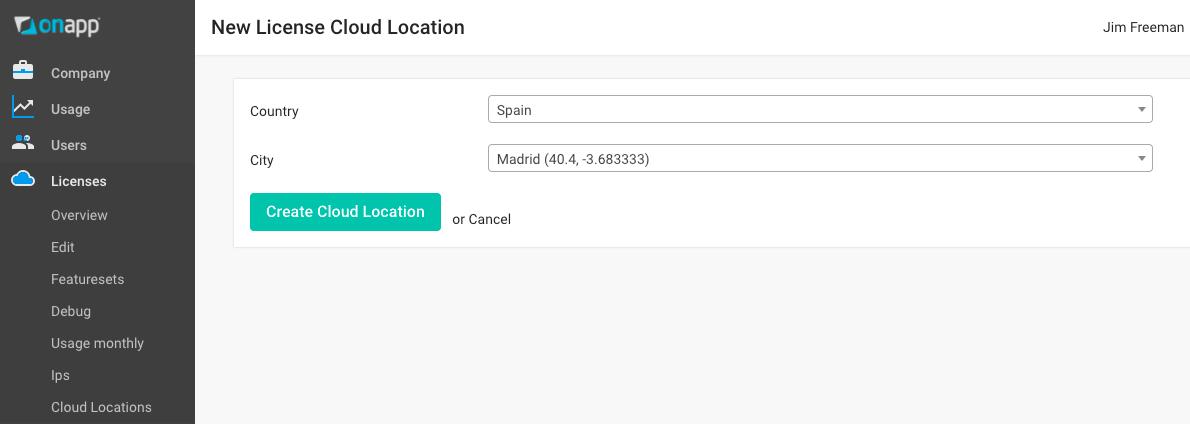 OnApp Accelerator cloud location