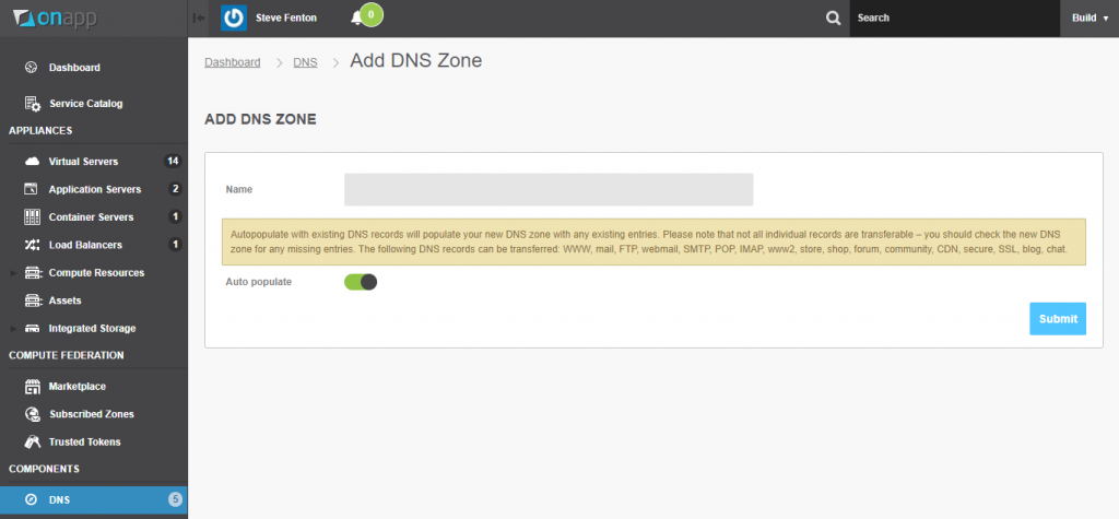 OnApp cloud add DNS zone