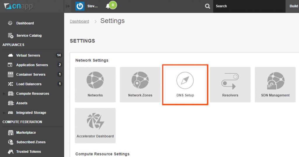 OnApp cloud DNS settings